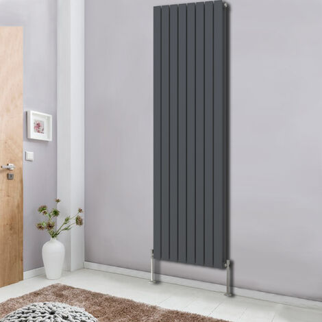 Vertical Flat Double Column Radiator Anthracite 1800x544 Central Heating Rads