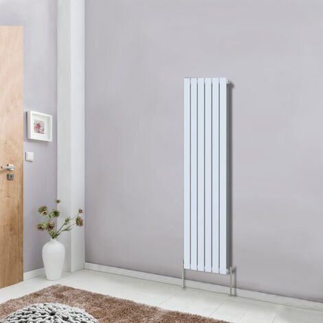 Vertical Flat Single Panel Column Designer Radiator 1600x408 Bathroom Central Heating White