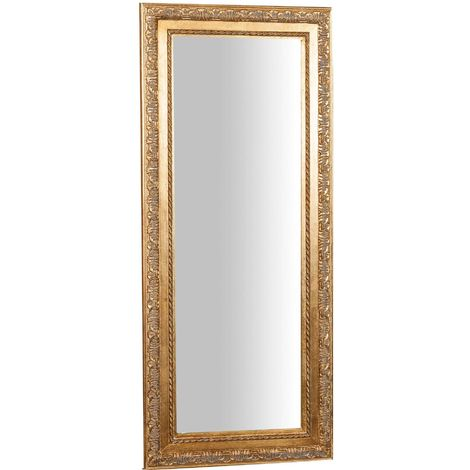 Vertical/horizontal antiqued gold finish W35xDP2xH82 cm hanging wall mirror