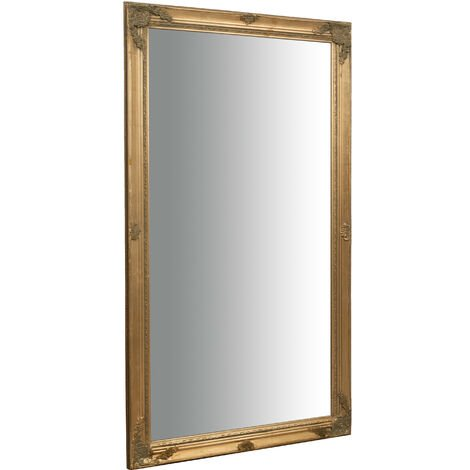 Vertical/horizontal antiqued gold finish W72xDP3xH132 cm sized hanging wall mirror