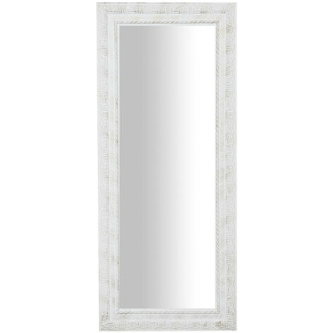 Vertical / horizontal antiqued white finish W35xDP2xH82 cm sized hanging wall mirror