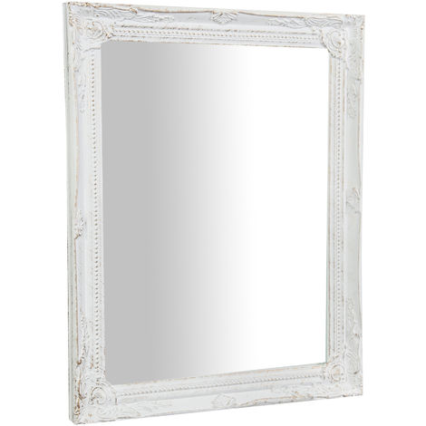Vertical / horizontal antiqued white finish W36,5XDP3XH47cm sized Hanging Wall Mirror