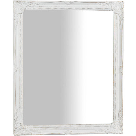 Vertical, horizontal antiqued white finish W47xDP3xH57 cm sized Hanging Wall Mirror