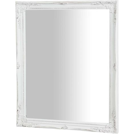 Vertical / horizontal antiqued white finish W47xDP3xH57 cm sized hanging wall mirror