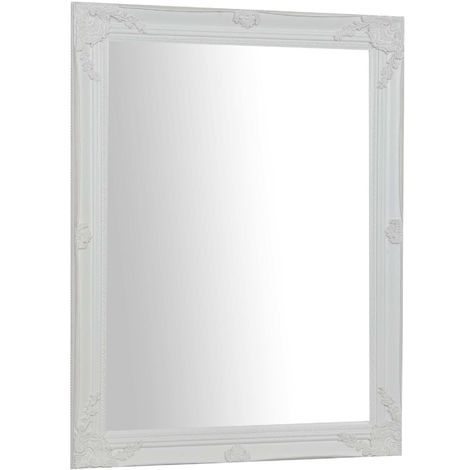 Vertical / horizontal antiqued white finish W62xDP3xH82 cm sized Hanging Wall Mirror