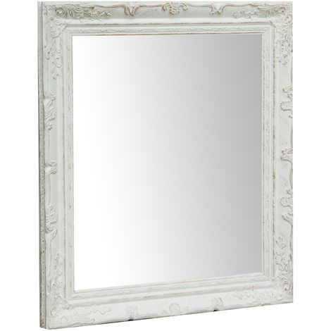 Vertical / horizontal antiqued white finish W64xDP4xH74 cm sized Hanging Wall Mirror