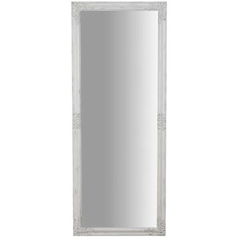 Vertical / horizontal antiqued white hanging wall mirror W72xDP3xH180 cm