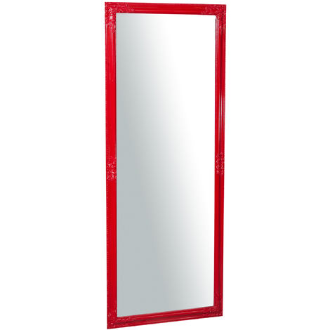 Vertical / horizontal glossy red finish W72xDP3xH180 cm sized hanging wall mirror
