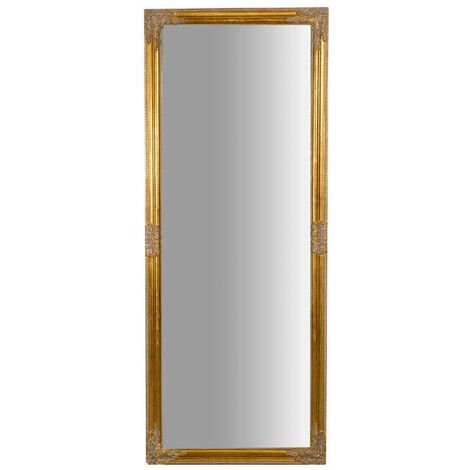 Vertical / horizontal W72xDP3xH180 cm sized antiqued gold finish hanging wall mirror