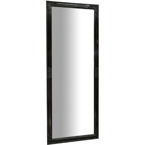 Vertical / horizontal W72xDP3xH180 cm sized glossy black finish hanging wall mirror