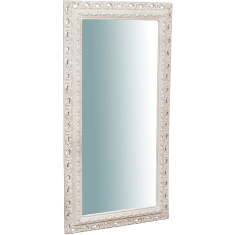 Vertical/horizontal wall mirror in antique white finish wood Made in Italy