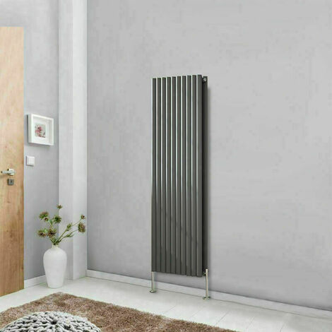 Vertical Oval Double Panel Column Designer Radiator Anthracite 1600x590 Bathroom Central Heating