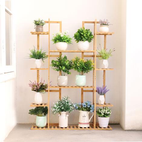 Vertically Dual Bamboo Plant Stand Staged Flower Shelf Rack Outdoor Garden