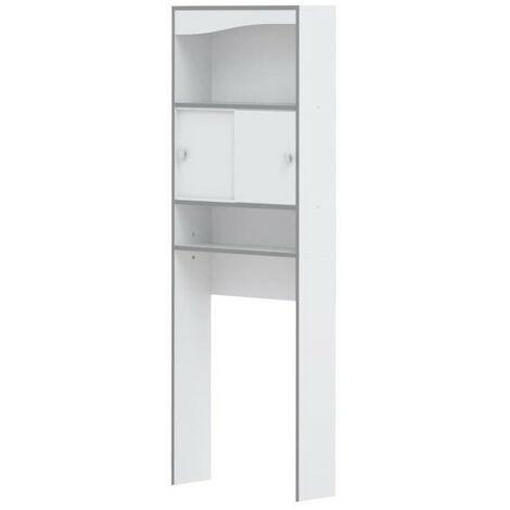 VESSA Meuble WC ou machine a laver L 64 cm - Blanc gris