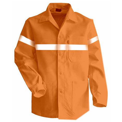 Veste à boutons avec bandes rétro-réfléchissantes - AMBRE - Orange