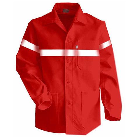 Veste à boutons avec bandes rétro-réfléchissantes - AMBRE - Rouge