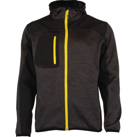 Veste bi-matière tissu Softshell doublé polaire et polyester Bora Outibat - Gris et jaune - Taille L - Gris anthracite et zip jaune