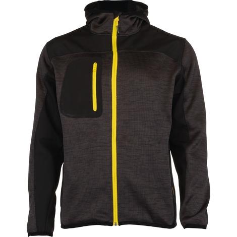 Veste bi-matière tissu Softshell doublé polaire et polyester Bora Outibat - Gris et jaune - Taille S - Gris anthracite et zip jaune