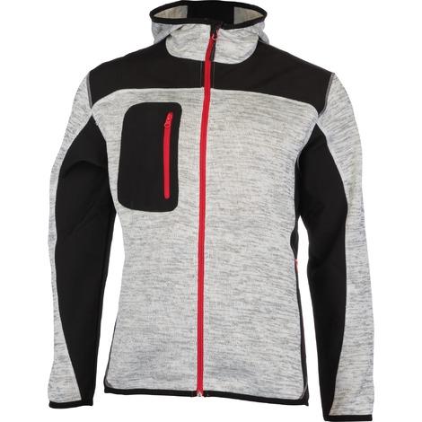 Veste bi-matière tissu Softshell doublé polaire et polyester Bora Outibat - Gris et rouge - Taille M - Gris clair et zip rouge