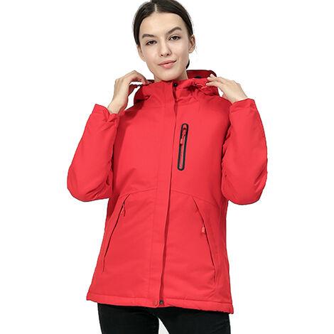 Veste Chaude D'Exterieur Pour Femme, Veste Chaude Anti-Froid Avec Thermostat De Chauffage Usb, Rouge, Taille L