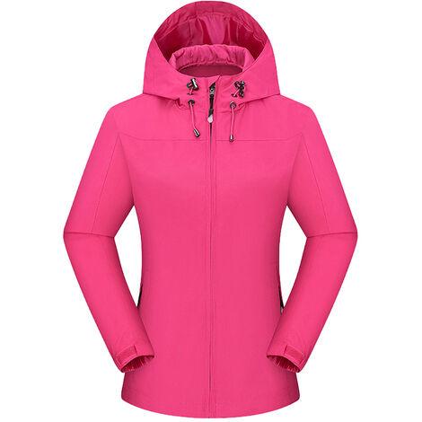 Veste Chaude D'Hiver Pour Femmes, Veste De Ski De Randonnee En Camping, Veste Coupe-Vent, Rose Rouge, Taille 3Xl