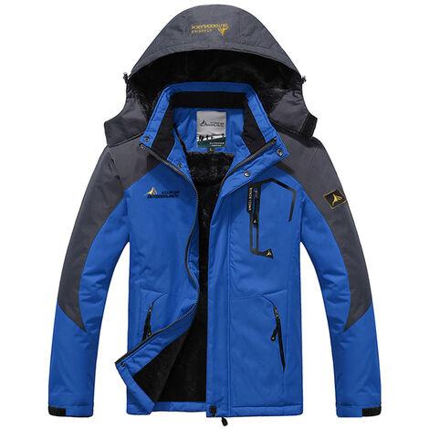 Veste Chaude Pour Homme, Veste Coupe-Vent Epaisse Avec Du Velours, Couleur Bleu, Taille M