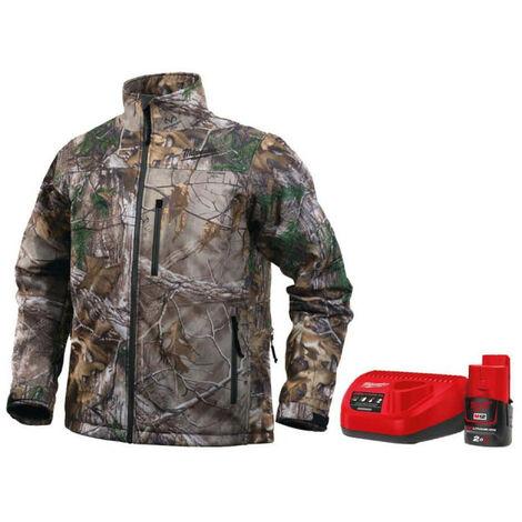 Veste chauffante camouflage Milwaukee M12 HJ CAMO4-0 taille S 4933451596 - Batterie M12 2.0Ah et chargeur C12C 4933451900 - Camouflage