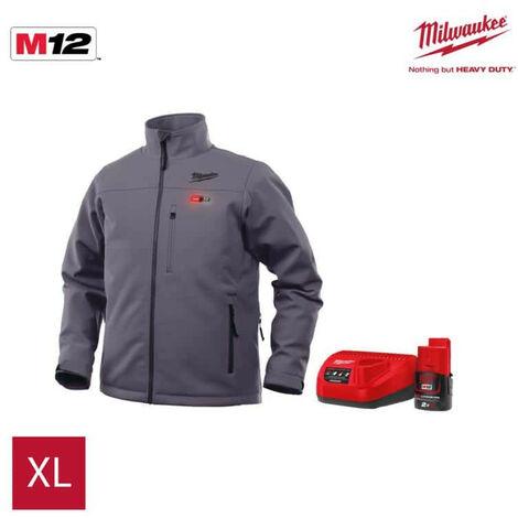Veste chauffante grise Milwaukee M12 HJ GREY3-0 avec batterie M12 2.0Ah et chargeur
