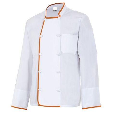 Veste de cuisine col officier manches longues homme 65% polyester 35% coton  175 gr/m2 - Blanc/Orange - P434 - Velilla