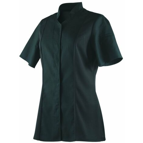 Veste de cuisine femme respirante col éponge manches courtes Robur Abella Noir