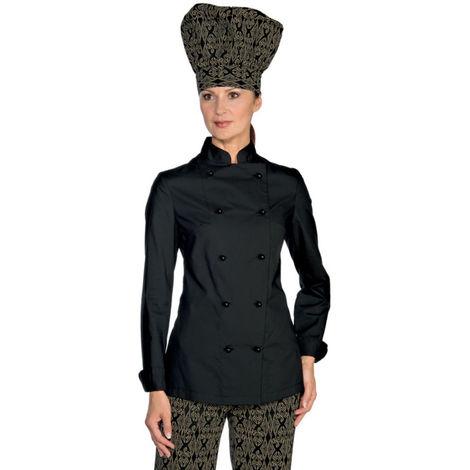 Veste de cuisine femme Ultra Légère noire Isacco Extra Light Noir