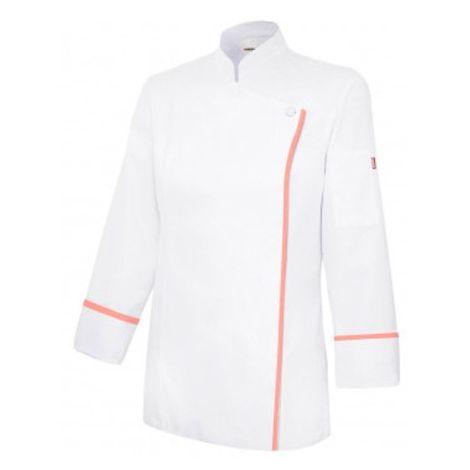Veste de cuisine fermeture éclair invisible femme 65% polyester 35% coton  190 gr/m2 - Blanc/Orange Clair - P405203TC - Velilla