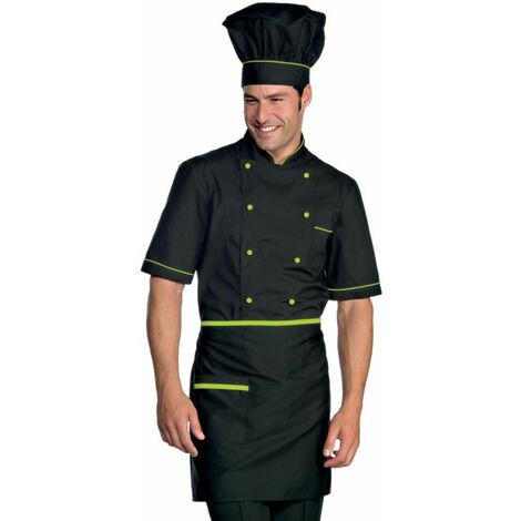 Veste de cuisine manches courtes noir motifs verts Isacco Cuoco Extra Light