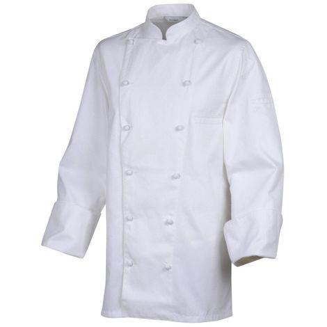 Veste de cuisine manches longues 100% coton Robur MONBLANC Blanc