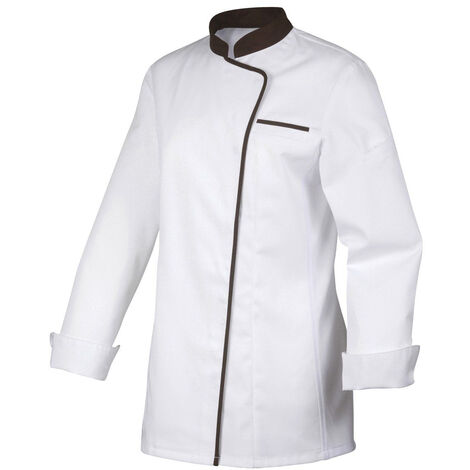 Veste de cuisine manches longues blanche avec col et liseré noir pour femme Robur