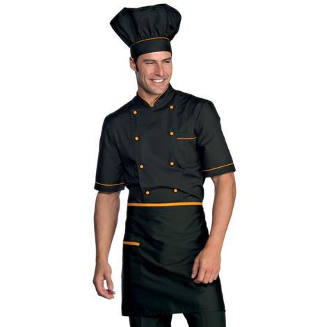 Veste de cuisine noir motif orange Cuoco Isacco manches courtes Extra Light Noir / Orange