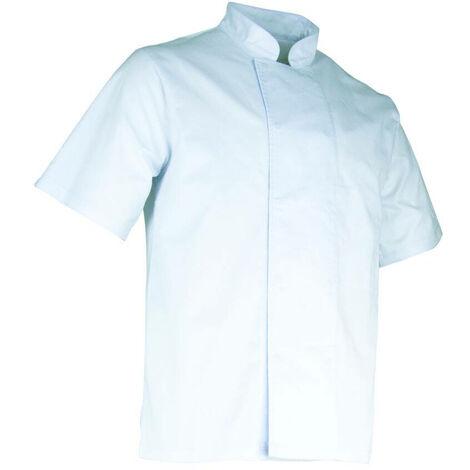 Veste de cuisinier à manches courtes à pressions cachées - AUBERGINE - Blanc