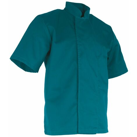 Veste de cuisinier à manches courtes - ARACHIDE - Bleu canard