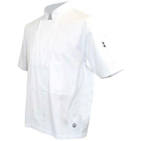 Veste de cuisinier à manches courtes pressions cachées - MERLU - Blanc