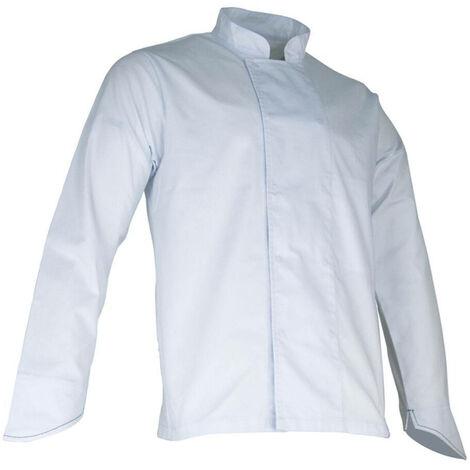Veste de cuisinier à manches longues pressions cachées - COURGETTE - Blanc