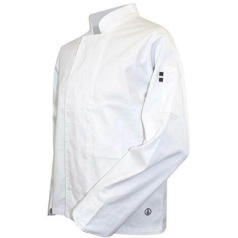 Veste de cuisinier à manches longues pressions cachées - MERLAN - Blanc