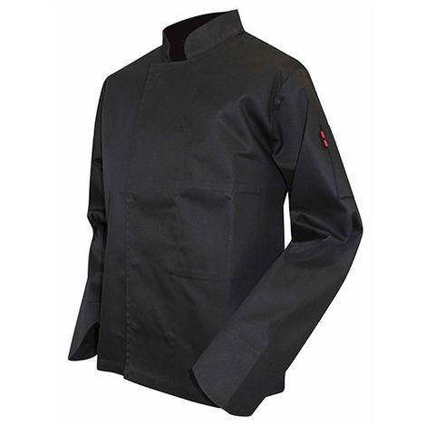 Veste de cuisinier à manches longues pressions cachées - PASSOIRE - Noir