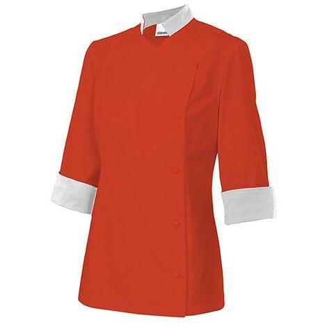 Veste de cuisinière à col mao femme 65% polyester 35% coton 210 grm2 ChaudronBlanc BIMELISA Disvel