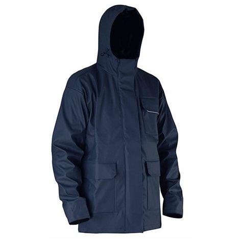 Veste de pluie avec capuche en semi PU imperméable EN 343 et EN 13688 - Gamme Top Pluie - ORAGE - MARINE - 2055 - LMA Lebeurre