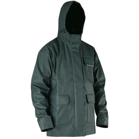 Veste de pluie avec capuche en semi PU imperméable EN343 EN13688 - Gamme Top Pluie - ORAGE - KAKI FONCE - 2055 - LMA Lebeurre