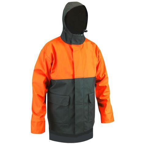 Veste de pluie étanche LMA Foudre Kaki Foncé / Orange Fluo