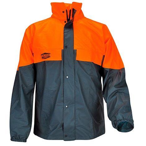 Veste de pluie pour travaux forestiers bi-color 100% PU dos rallongé avec gouttiere capuche dans col - SOLIDUR
