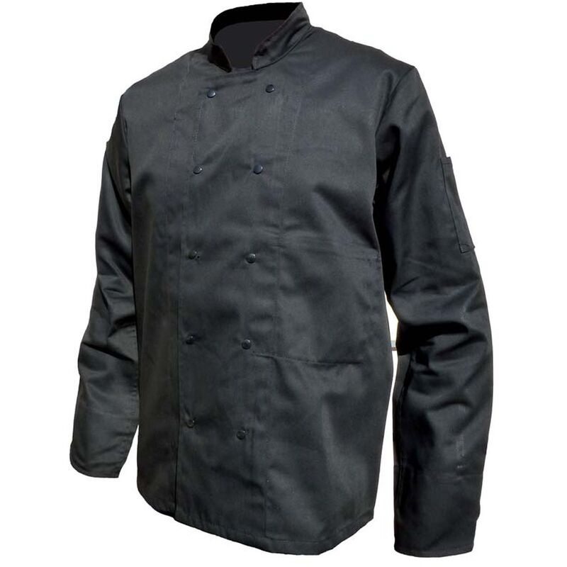 Veste de travail cuisine pbv poly coton homme noir 3 - Veste cuisine homme personnalise ...