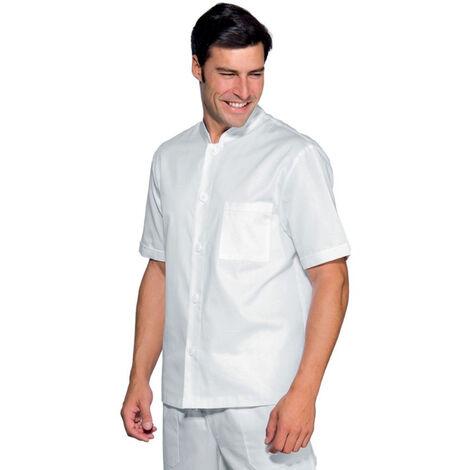 Veste de travail homme cuisine/médical blanche Isacco 100% coton manches courtes