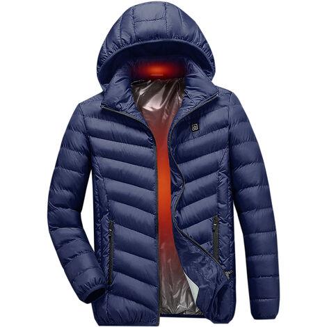 Veste En Coton Chauffant Electrique, Veste Chauffante A Chargement Usb, Bleu Fonce, Taille S